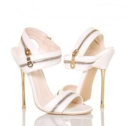 Szpilki Sandały Złoty Metalowy Obcas Białe