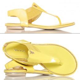 Sandały Japonki Żółte Lakierowane