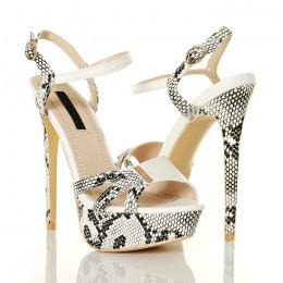 Sandały Białe z Wężowymi Wstawkami