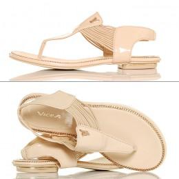 Sandały Japonki Beżowe Lakierowane
