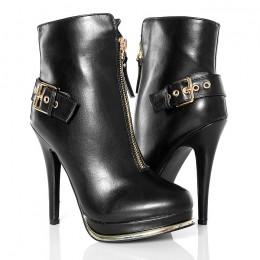 Botki - Czarne Kobiece Złoty Zamek - Platformy