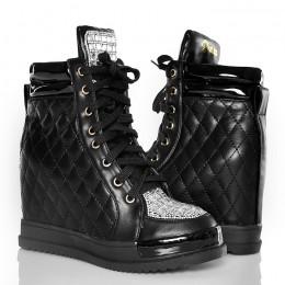 Sneakersy Czarne Błyszczące Sexy Glamour Cyrkonie