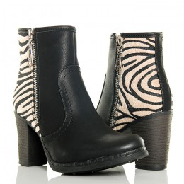 Botki - Czarne Klasyczne - Zwierzęca Pięta - Zebra