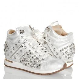 Sneakersy Białe Połyskujące Srebrne Zamki-Cyrkonie